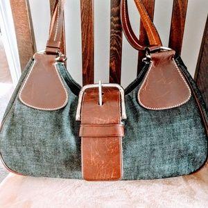 Prada leather trim leather shoulder bag
